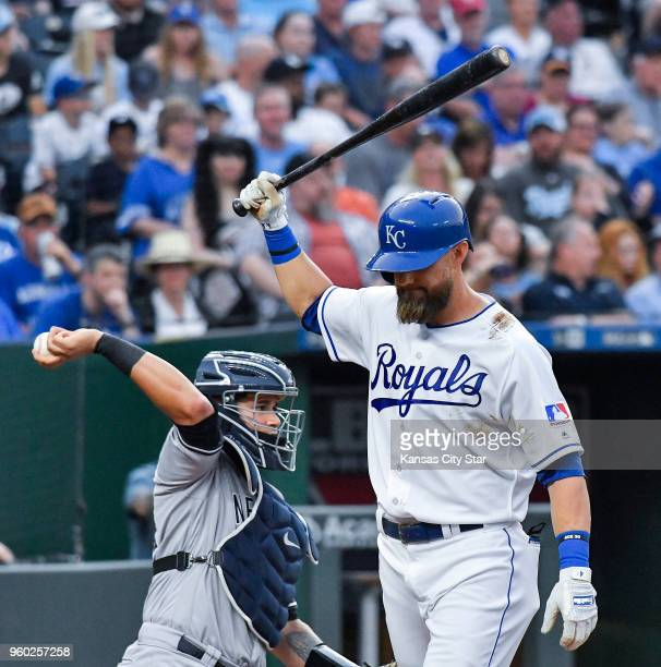 Kansas City Royals' Alex Gordon strikes out in the sixth inning as New York Yankees catcher Gary Sanchez throws the ball back during Saturday's...