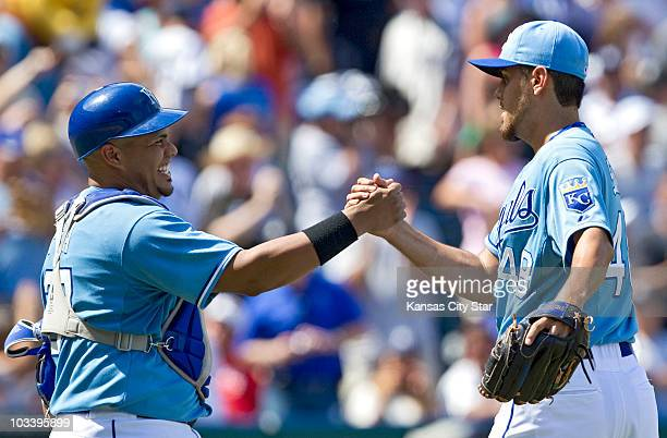 Kansas City Royals catcher Brayan Pena congratulated relief pitcher Joakim Soria after closing out the ninth inning during a baseball game at...