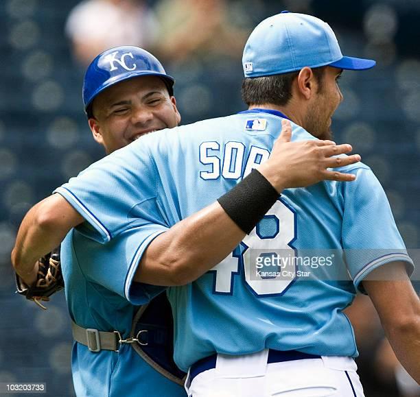Kansas City Royals catcher Brayan Pena hugs relief pitcher Joakim Soria after the team defeated the Toronto Blue Jays 52 at Kauffman Stadium in...