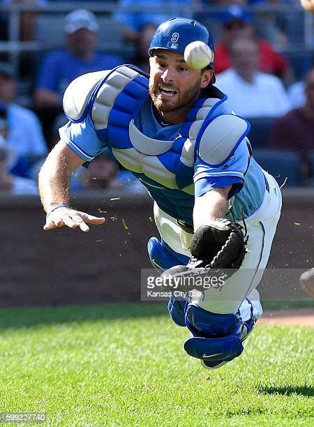 Kansas City Royals catcher Drew Butera couldn't reach a foul ball hit by Detroit Tigers' Jose Iglesias in the ninth inning on Sunday Sept 4 2016 at...