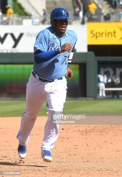 Kansas City Royals catcher Meibrys Viloria runs the bases after a home run by Kansas City Royals shortstop Adalberto Mondesi during a MLB game...