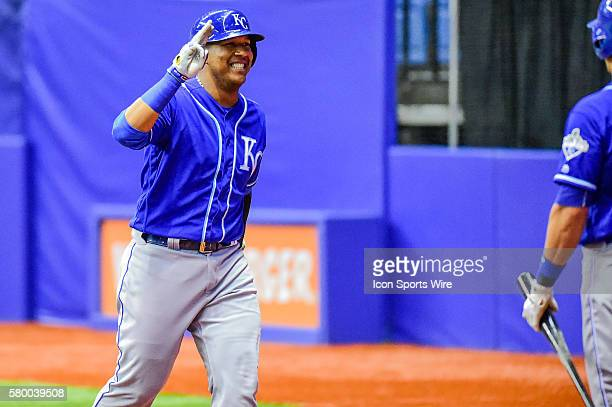 Kansas City Royals catcher Salvador Perez acknowledges the crowd following his solo shot during the spring training game between the Kansas City...