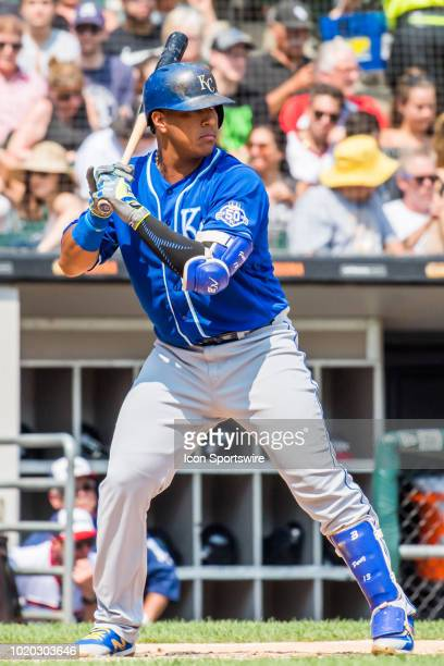 Kansas City Royals catcher Salvador Perez at bat during a game between the Kansas City Royals and the Chicago White Sox on August 19 at Guaranteed...