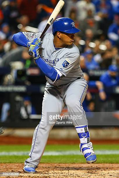 Kansas City Royals catcher Salvador Perez at bat during Game 4 of the 2015 World Series between the New York Mets and the Kansas City Royals played...