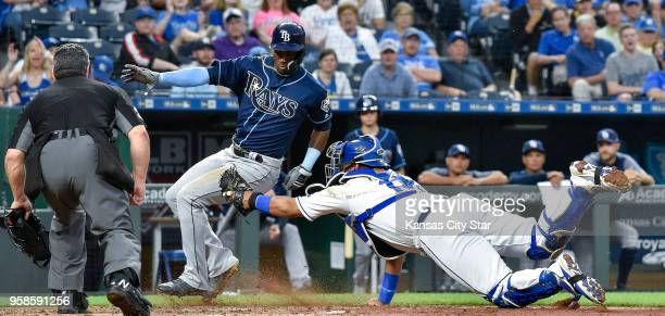 Kansas City Royals catcher Salvador Perez couldn't tag Tampa Bay Rays' Adeiny Hechavarria at the plate on an RBI single by Matt Duffy in the sixth...
