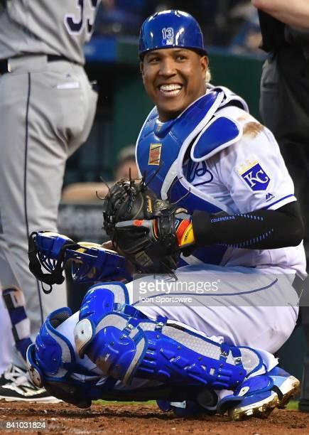 Kansas City Royals catcher Salvador Perez during a Major League Baseball game between the Tampa Bay Rays and the Kansas City Royals August 29 at...