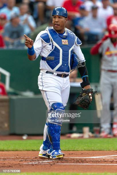 Kansas City Royals catcher Salvador Perez during the MLB interleague game against the St Louis Cardinals on August 11 2018 at Kauffman Stadium in...