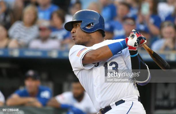 Kansas City Royals catcher Salvador Perez hits and RBI single in the first inning during a Major League Baseball game between the Cleveland Indians...