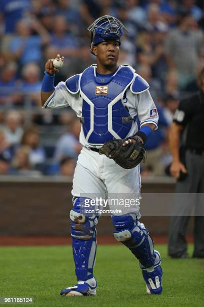 Kansas City Royals catcher Salvador Perez in the 7th inning of an MLB game between the New York Yankees and Kansas City Royals on May 19 2018 at...