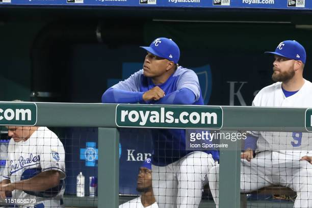 Kansas City Royals catcher Salvador Perez looks on from the dugout in the ninth inning of an MLB game between the Minnesota Twins and Kansas City...