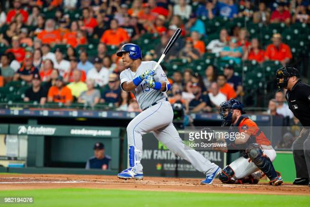 Kansas City Royals catcher Salvador Perez looks on in the first inning during an MLB baseball game between the Houston Astros and the Kansas City...