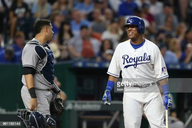 Kansas City Royals catcher Salvador Perez talks with New York Yankees catcher Gary Sanchez in an MLB game between the New York Yankees and Kansas...