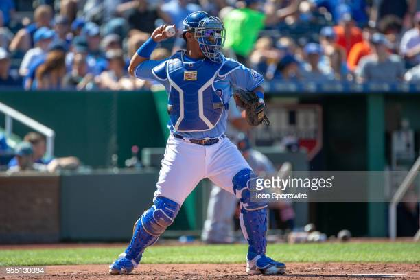 Kansas City Royals catcher Salvador Perez throws to second base during a Major League baseball game against the Detroit Tigers on May 5 2018 at...
