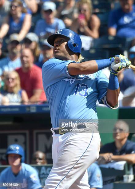 Kansas City Royals catcher Salvador Perez tracks his ball after hitting a grand slam in the eighth inning during a MLB game between the Boston Red...