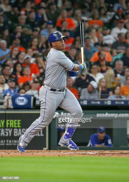 Kansas City Royals catcher Salvador Perez watches his hit in the top of the fourth inning during the baseball game between the Kansas City Royals and...