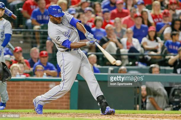 Kansas City Royals Center field Lorenzo Cain hits the ball off the end of the bat during the MLB game between the Kansas City Royals and Texas...