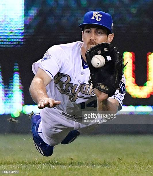 Kansas City Royals center fielder Billy Burns dives for an out on the Chicago White Sox's Melky Cabrera in the eighth inning on Friday Sept 16 at...