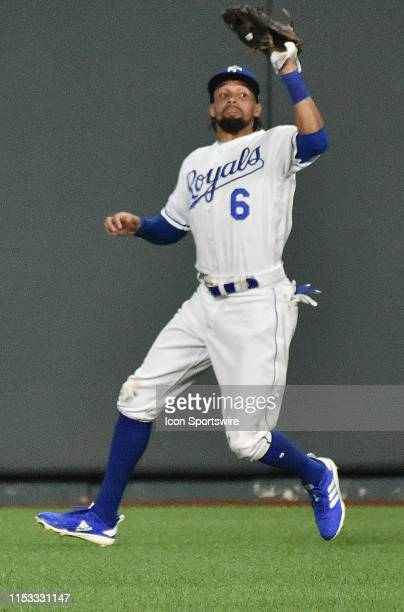 Kansas City Royals center fielder Billy Hamilton catches a fly ball for an out during a Major League Baseball game between the Cleveland Indians and...