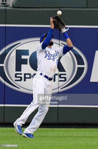 Kansas City Royals center fielder Billy Hamilton catches for an out during game two of a doubleheader Major League Baseball game between the Tampa...