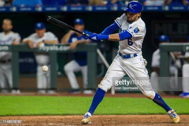 Kansas City Royals center fielder Billy Hamilton makes contact with the ball during the MLB regular season game between the Boston Red Sox and the...