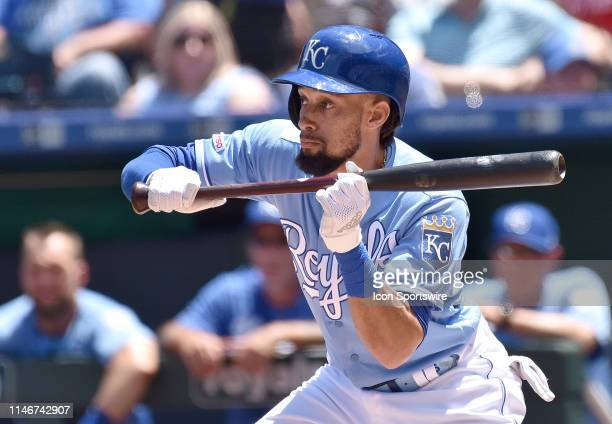 Kansas City Royals center fielder Billy Hamilton sets up to bunt during a MLB game between the New York Yankees and the Kansas City Royals on May 26...