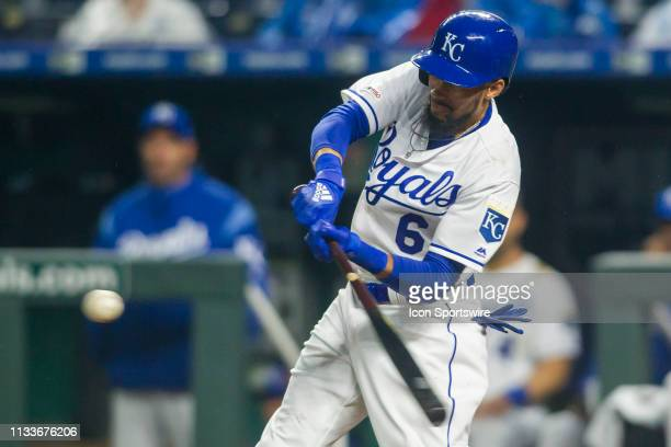 Kansas City Royals center fielder Billy Hamilton takes a swing at the ball during the home opener game between the Kansas City Royals and the Chicago...
