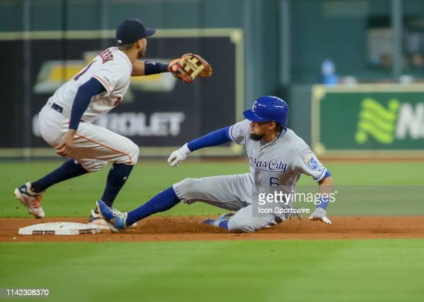 Kansas City Royals center fielder Billy Hamilton this a double during the baseball game between the Kansas City Royals and Houston Astros on May 8...