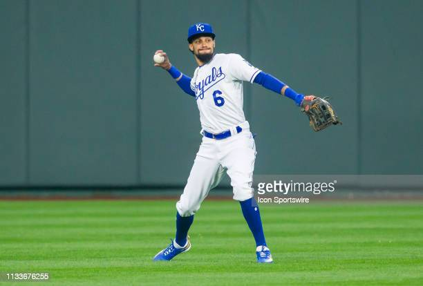Kansas City Royals center fielder Billy Hamilton throws the ball toward the infield during the home opener game between the Kansas City Royals and...