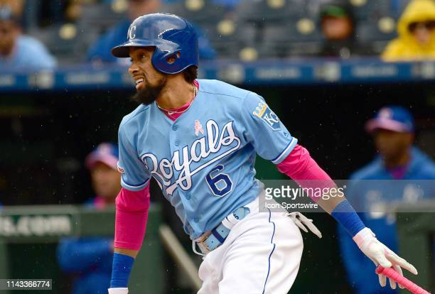 Kansas City Royals center fielder Billy Hamilton watches the progress of his ball during a MLB game between the Philadelphia Phillies and the Kansas...