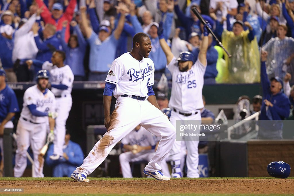 Kansas City Royals center fielder Lorenzo Cain (6) yells his excitement after scoring the go ahead run in the bottom of the 8th inning. Toronto Blue Jays Vs Kansas City Royals in Game 6 of the ALCS at Kauffman Field. Jays lose 4-3 and lose the series 4-2. Kansas City goes on to the World Series against the New York Mets. Toronto Star/Rick Madonik