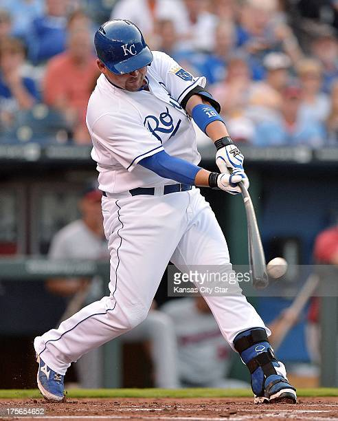 Kansas City Royals designated hitter Billy Butler connects on a single in the first inning against the Minnesota Twins at Kauffman Stadium in Kansas...