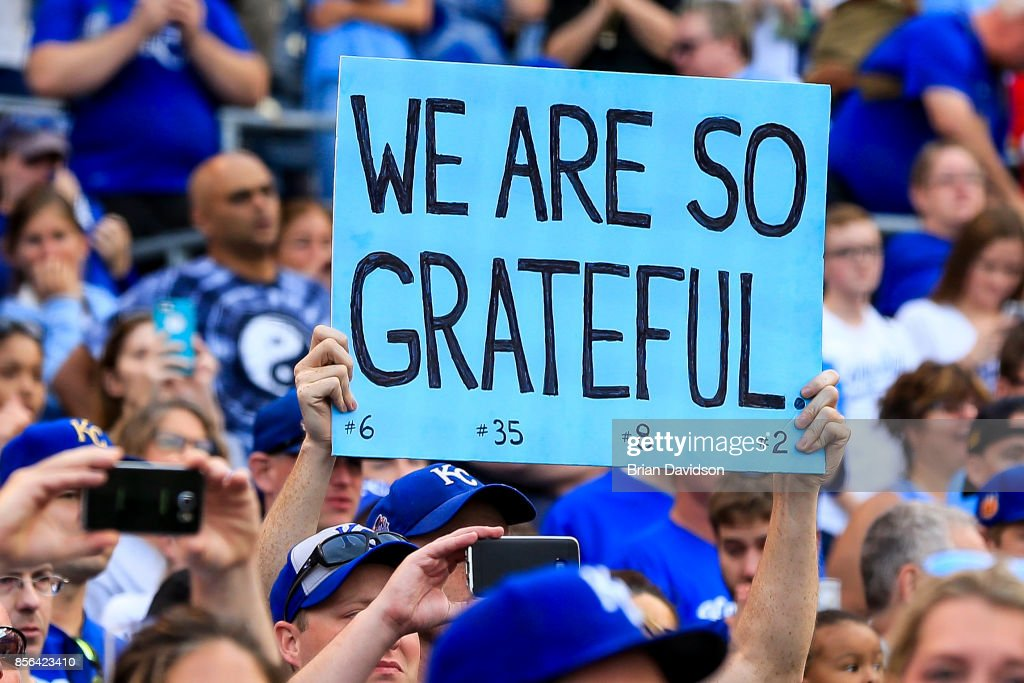 A Kansas City Royals fan holds up a sign to show appreciation after the final game of the year against the Arizona Diamondbacks at Kauffman Stadium on October 1, 2017 in Kansas City, Missouri.