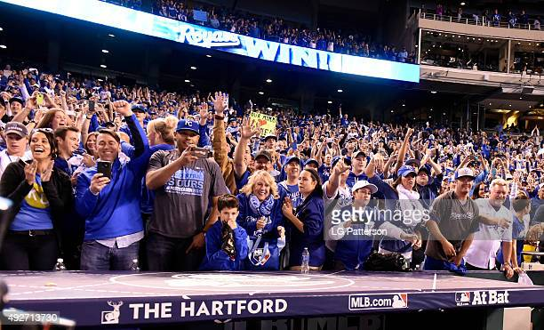Kansas City Royals fans celebrate after defeating the Houston Astros 72 in Game 5 of the ALDS at Kauffman Stadium on Wednesday October 14 2015 in...