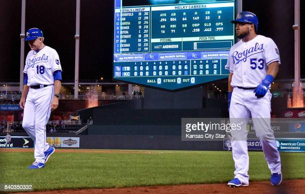 Kansas City Royals first base coach Rusty Kuntz and Melky Cabrera walk off the field after Cabrera grounded out to end the game on Aug 28 2017 at...