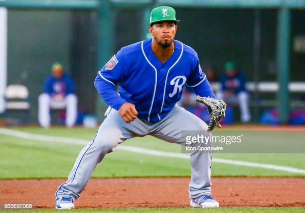 Kansas City Royals infielder Cheslor Cuthbert plays first base during the MLB Spring Training baseball game between the Kansas City Royals and the...