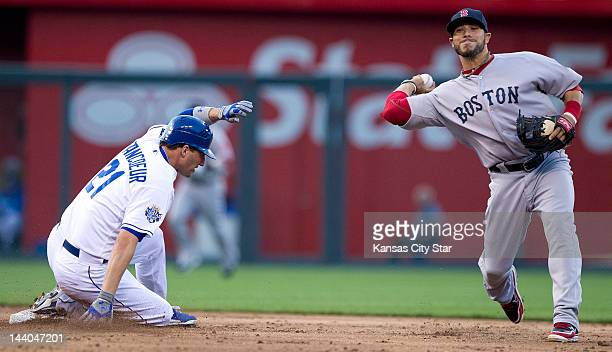 Kansas City Royals' Jeff Francoeur is forced out at second base by Boston Red Sox shortstop Mike Aviles in the second inning at Kauffman Stadium on...