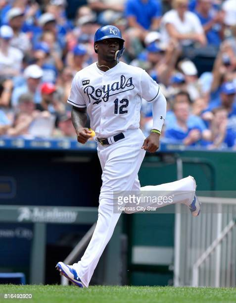 Kansas City Royals' Jorge Soler heads for home on an RBI single by Alcides Escobar in the fifth inning against the Minnesota Twins on Sunday July 2...