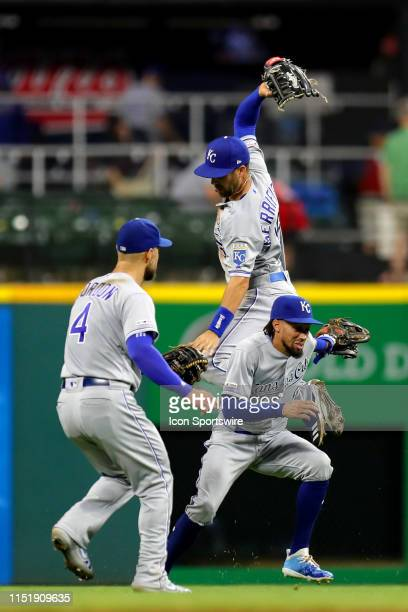 Kansas City Royals left fielder Alex Gordon , Kansas City Royals center fielder Billy Hamilton , and Kansas City Royals outfielder Whit Merrifield...