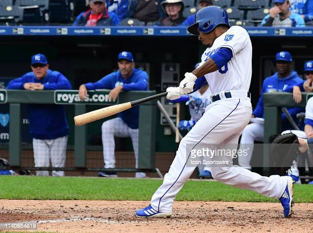Kansas City Royals left fielder Terrance Gore singles during game two of a doubleheader Major League Baseball game between the Tampa Bay Rays and the...
