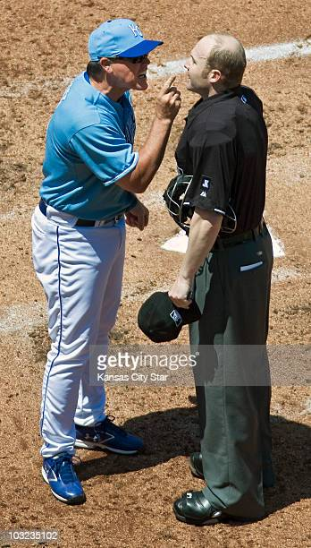Kansas City Royals manager Ned Yost argues with home plate umpire Mike Estabrook after being tossed from the game against the Los Angeles Angels in...