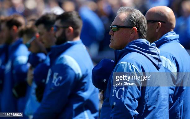 Kansas City Royals manager Ned Yost stands for the playing of the National Anthem before the game against the Chicago White Sox at Kauffman Stadium...