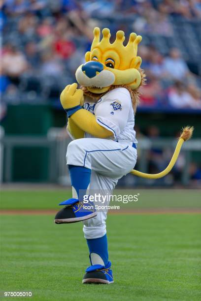 Kansas City Royals mascot Slugger on the field during the MLB interleague game against the Cincinnati Reds on June 13, 2018 at Kauffman Stadium in...