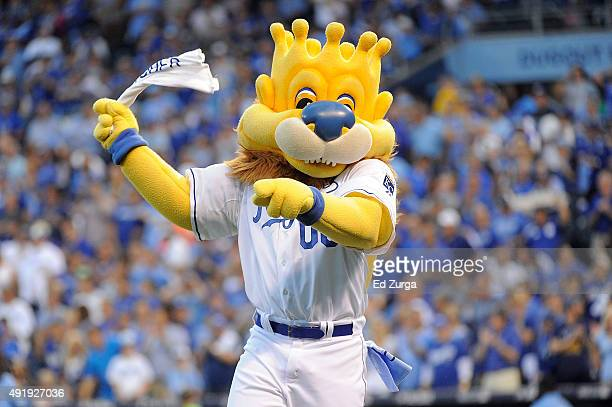 Kansas City Royals mascot Sluggerrr performs prior to game one of the American League Division Series between the Kansas City Royals and the Houston...