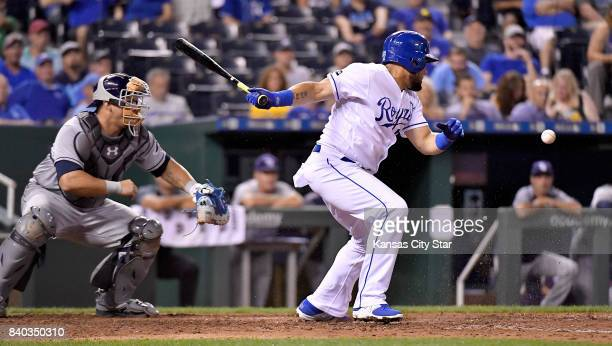 Kansas City Royals' Melky Cabrera grounds out in front of Tampa Bay Rays catcher Wilson Ramos to end the game on Aug 28 2017 at Kauffman Stadium in...