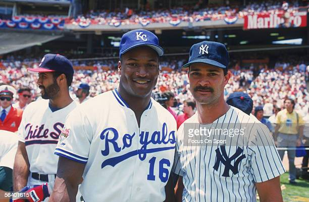 Kansas City Royals' MVP Bo Jackson stands next to New York Yankees' firstbaseman Don Mattingly during pregame festivals for the 1989 AllStar game at...