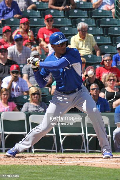 Kansas City Royals outfielder Justin Maxwell bats during the Spring Training game between the Kansas City Royals and the Los Angeles Angels in Tempe...