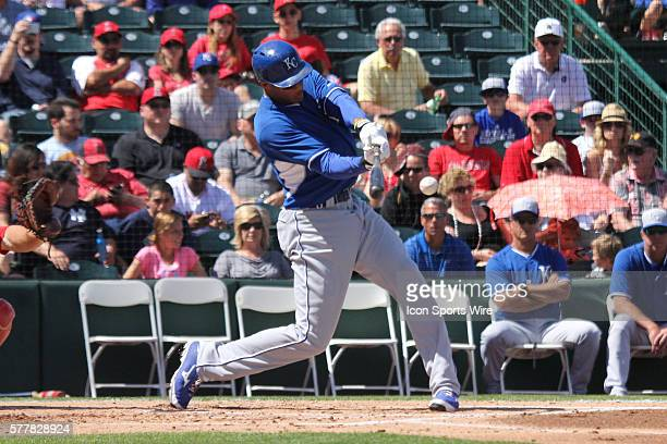 Kansas City Royals outfielder Justin Maxwell singles during the Spring Training game between the Kansas City Royals and the Los Angeles Angels in...