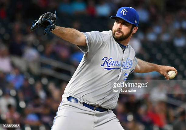 Kansas City Royals Pitcher Brian Flynn delivers a pitch during a MLB game between the Minnesota Twins and Kansas City Royals on July 10 2018 at...
