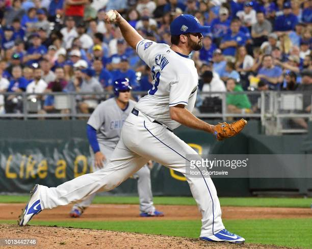 Kansas City Royals pitcher Brian Flynn pitches in relief during a MLB interleague game between the Chicago Cubs and the Kansas City Royals on August...
