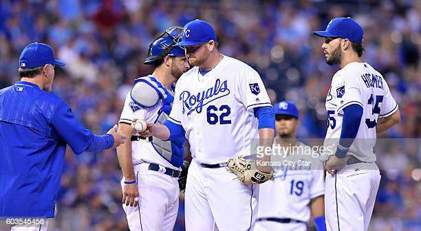 Kansas City Royals pitcher Brooks Pounders is relieved by manager Ned Yost in the fourth inning against the Oakland Athletics on Monday Sept 12 2016...